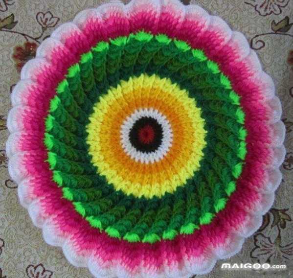 毛線編織坐墊的方法 毛線編織坐墊花樣欣賞圖片